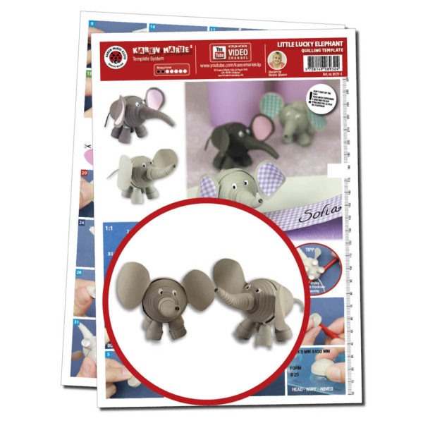 0177-1 Little Lucky Elephant Quilling Template