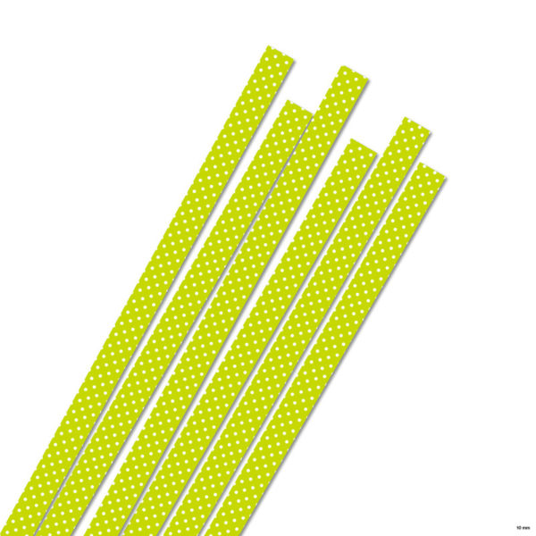 10 mm Strimler lime/white dots