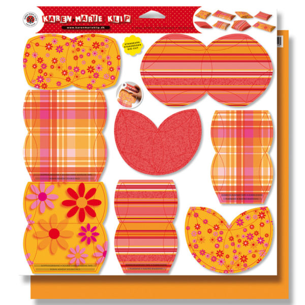8 small boxes orange/pink