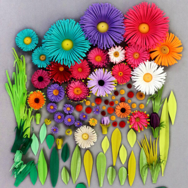 quilling 3d flower and leaves 01 (305)