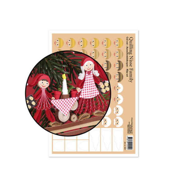 3061 small quilling nisse family cut-out sheet